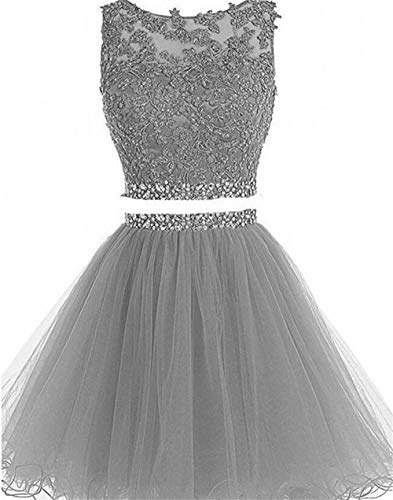 Dydsz Short Prom Dress Homecoming Party Dresses Juniors 2 Piece Beaded A Line Cocktail Gown D127 Silver 4 (Gown Short Beaded)