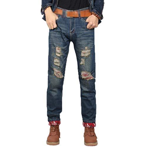 Casual Retrò Slim Pantaloni Abbigliamento Da Uomo Strappati Denim Jeans Fit Lavati Blau vqqZg65wB