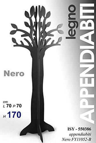 Dettagli su Albero Nero Appendiabiti Rami Foglie Attaccapanni In Legno 70X70X170 Cm -C25