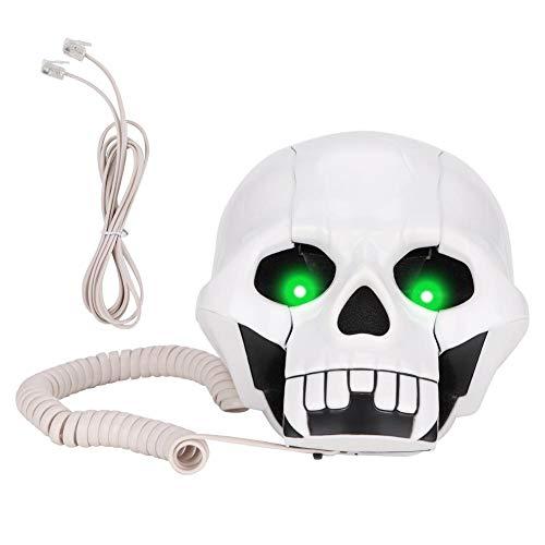 ASHATA Scary Skull Shape Telephone Wired with Blue Led Flashing Eyes Home Office Desktop Telephone Landline for Festival Decoration Gifts -