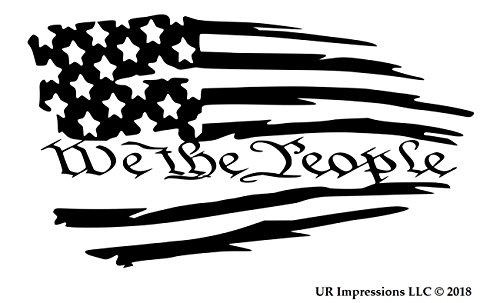 (UR Impressions MBlk Tattered American Flag - We The People Decal Vinyl Sticker Graphics for Cars Trucks SUV Vans Walls Windows Laptop|Matte Black|7.5 X 4.2 inch|URI610)
