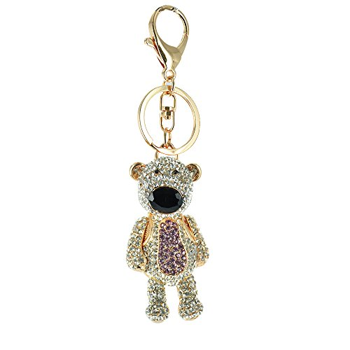 Twinkle Fashion Accessories - Czech Crystal Keychains - Bear Friend with Rhinestones (Purple)