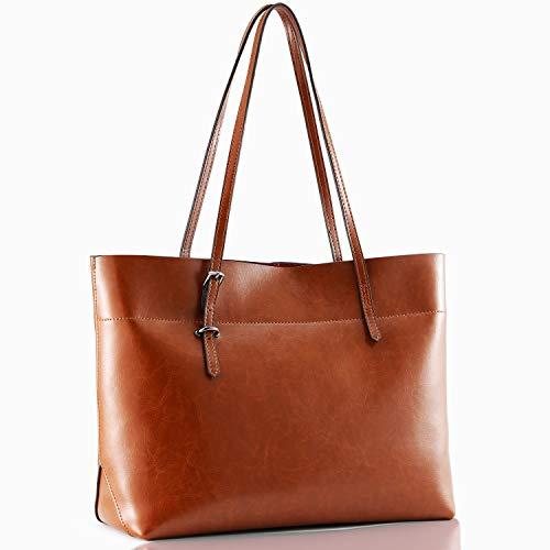 Kattee Vintage Genuine Leather Tote Shoulder Bag With Adjustable Handles (Brown)