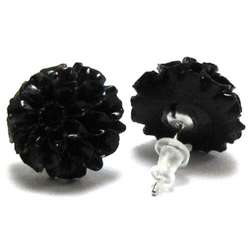 buyallstore 15mm Synthetic Coral Carved Chrysanthemum Flower Earring Pair Black