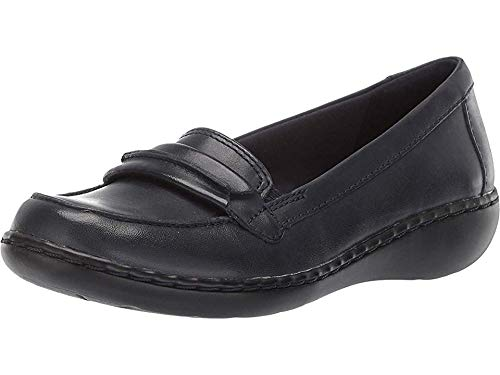 CLARKS Women's Ashland Lily Loafer,navy leather,11 W US