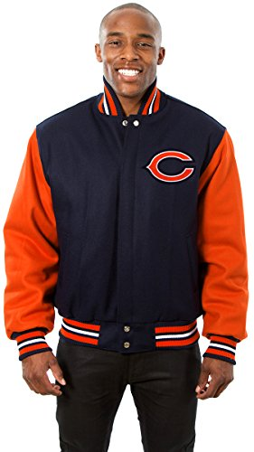 Chicago Bears Men's Wool Jacket with Embroidered Applique Team Logos (3X) (Large Chicago Bears Window Decal compare prices)