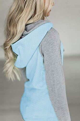 Cotton Sweatshirts color 5xl Casual Uk Azul Sudadera Plus De Colorblock Tamaño Verde 5xl Size Mujer cn Anpq8YAx70