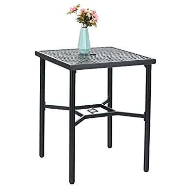 PHI VILLA Basket Weave Bar Stools 2Pack,1 Square Table