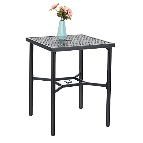 PHI VILLA 28in Patio Height Bistro Square Table with Umbrella Hole - 36