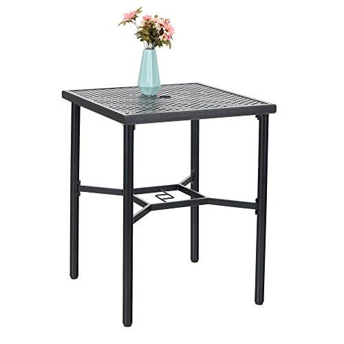 PHI VILLA 28in Patio Height Bistro Square Table with Umbrella Hole - 36
