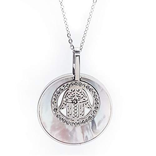 (OWL JEWELRY, Women Necklace Hamsa Hand (Hand of Fatima) Medal with Mother of Pearl and Crystals, Silver Plating, Adjustable)