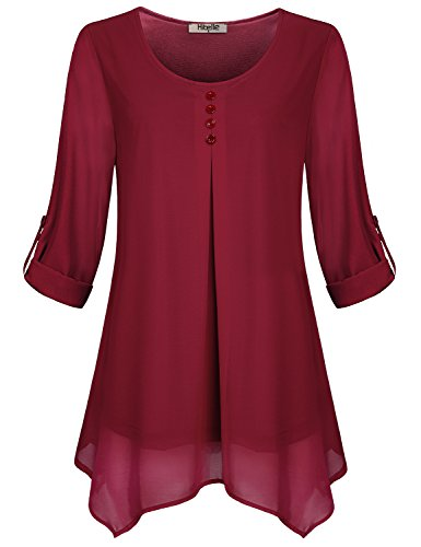 Hibelle 2XL Tunic, Womens Casual Chiffon Blouse Tops Loose Lightweight 3/4 Roll up Long Sleeve Basic Retro Pure Red Shirts Ladies Round Neck Flare Layering Soft surrounding For Holiday Red XXL (Holiday Red Top Shirt)