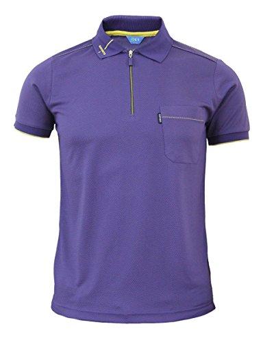66c05283 BCPOLO Men's Zip Polo Shirt Short Sleeve Dri Fit Athletic Polo Shirt-Purple  M