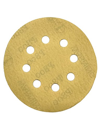 Karebac K3-585-600 Stearated Aluminum Oxide600 Grit Dustless Hook & Loop Sanding Discs with 5x8 Hole (50 Pack), Gold