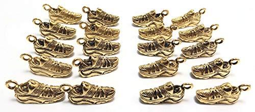 Set of Twenty (20) Gold Tone Pewter Tennis Shoe Charms (Tennis Shoe Charms)