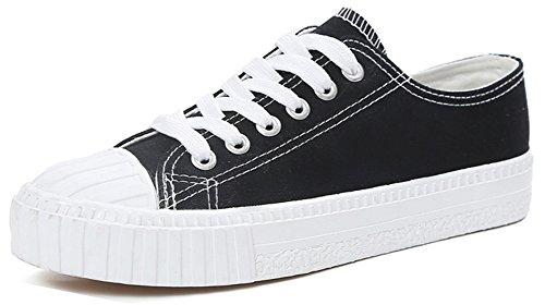Femme Tennis Talon Plat Aisun Rond Bout Sneakers Respirant Lacets Noir 7Fwxqd1