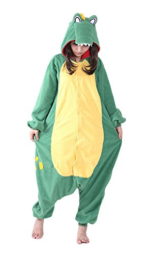 Xiqupjs Adult Onesie Pajamas Green Crocodile Cosplay Costume One Piece Sleepwear XL -
