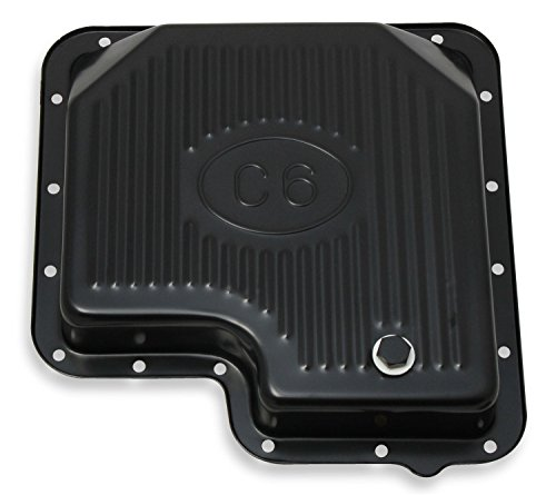 Mr Gasket 9756BMRG Automatic Transmission Oil Pan Stock Depth/Capacity Finned Design EDP Black Finish Steel Construction Incl. Drain Plug Gasket Hardware Automatic Transmission Oil Pan