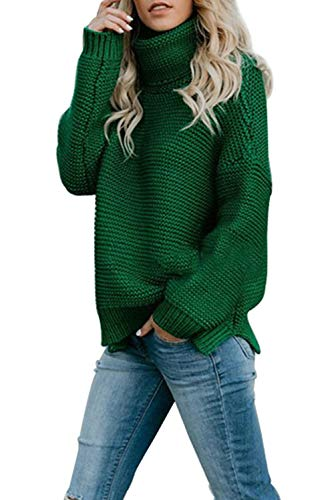 c66d1514c Goldpkf Womens Long Sleeve Fashion Casual Turtleneck Pullover Chunky Knit  Sweater Tops