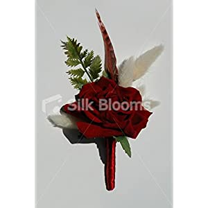 Red Velvet Rose and Ivory Pussywillow Grooms Wedding Buttonhole 105