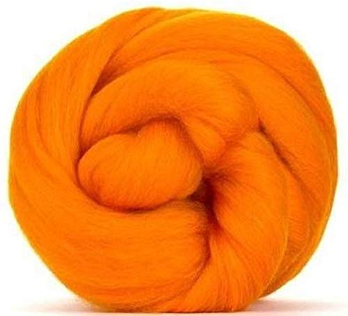 4 oz Paradise Fibers 64 Count Dyed Clementine (Orange) Merino Top Spinning Fiber Luxuriously Soft Wool Top Roving for Spinning with Spindle or Wheel, Felting, Blending and Weaving ()