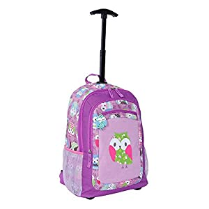 Amazon.com: Kid and Toddler Girl Rolling Purple Owl Luggage ...