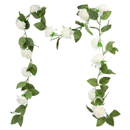fs 6ft (183cm) Artificial Ivory/Cream Rose Flower Garland - Wedding Trellis Garden