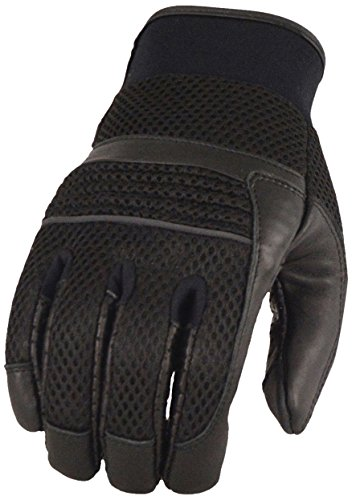 Milwaukee Leather Men's Lthr/Mesh Glvs w/Gel Palm,Reflective Piping-Black-Large