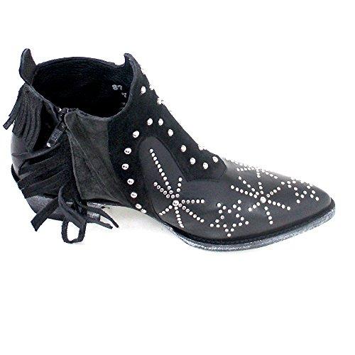 Women's Cowboy cowhide black Black silky Boots Mexicana 0q7Tx4T