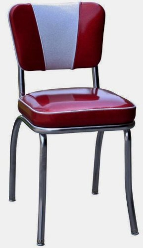 Richardson Seating Retro 1950s V-Back Diner Chair in Glitter Sparkle Red and Glitter Silver