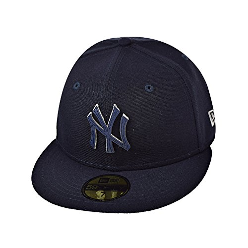 New Era New York Yankees Leather Pop 59Fifty Men's Fitted Hat Cap Navy Blue 80508743 (Size 7 (New Era Cap Leather Cap)