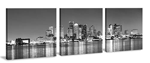 BLINFEIRU-Black and White 3 Piece Boston Skyline Modern Art Work Cityscape Pictures Paintings on Canvas Wall Art Wall Pictures Ready to Hang 16x16inchx3