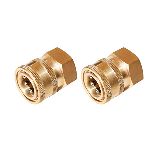 (EDOU Pressure Washer Brass Quick Coupler Fittings,4000 PSI 1/4 Inch Quick Coupler Female,2-Pack)