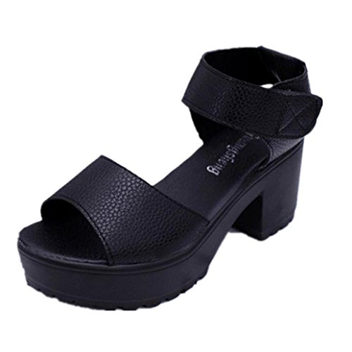 Chunky Heel Shoes Peep Ladies Sandals Black Pair Toe Open High Toe 1 Platform Gladiator Clode® Women nvOw6fBqq