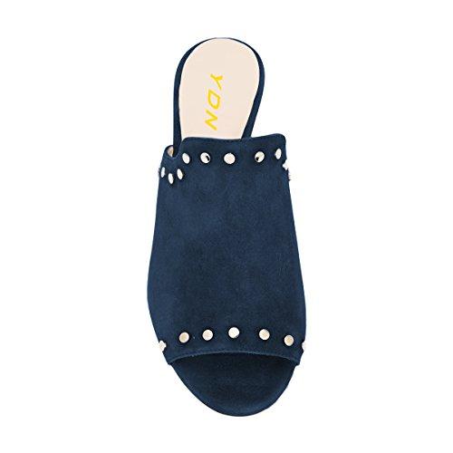 Ydn Donna Casual Metà Muli Tacco Alto Peep Toe Slip On Pompe Scarpe Con Chiodi Borchiati Blu Scuro