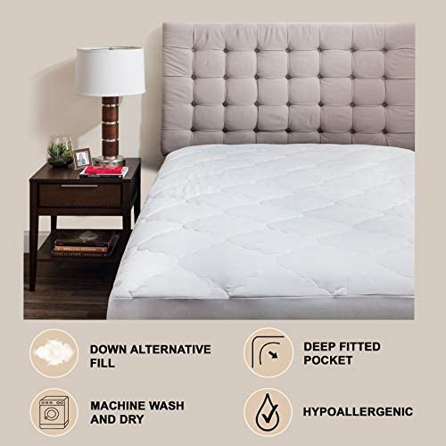 - Skirt stretches up to 15! Micropuff Fitted Style Down Alternative Mattress Pad 39x75 Twin Size