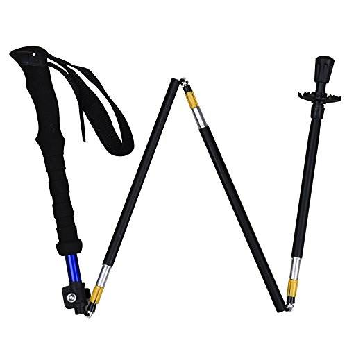 HILLPOW Aluminum Alloy Trekking Poles - Lightweight, Folding, Adjustable, Perfect For Travel Hiking Walking Climbing, Pack of 2 (Black)