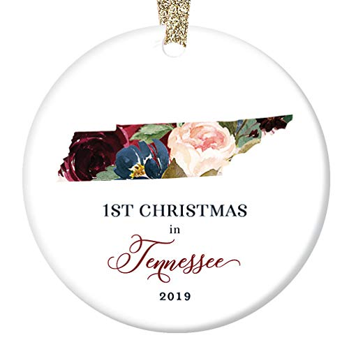 (Christmas 2019 Ornament Collectible Ceramic Tree Decoration First 1st Holiday Moved to TENNESSEE Keepsake Present for Friends & Family Lovely Flowers 3