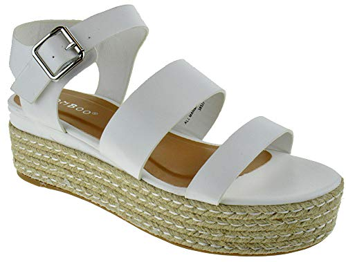 White Cross Bamboo - BAMBOO Infinity 19 Womens Cross Band Slingback Esadrilles Open Toe Platform Sandals White 9
