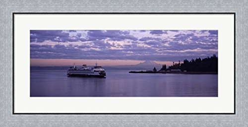 Ferry in the sea, Bainbridge Island, Seattle, Washington State by Panoramic Images Framed Art Print Wall Picture, Flat Silver Frame, 35 x 17 inches (State Washington Pictures)