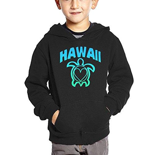 Joapron Hawaii Sea Turtle Kids Long Sleeve Pocket Pullover Hooded Sweatshirt Black Size 5-6 Toddler -