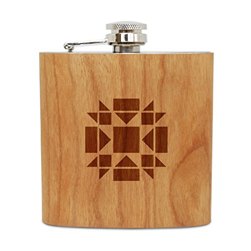 WOODEN ACCESSORIES COMPANY Cherry Wood Flask With Stainless Steel Body - Laser Engraved Flask With Quilt Block Design - 6 Oz Wood Hip Flask Handmade In USA