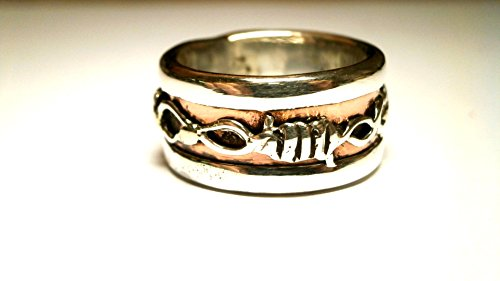 - Unisex Silver Copper Oxidized, Handmade Wire Band Ring, Hammered Band Ring