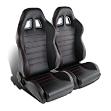 Spec-D Tuning RS-C100RS-2 Seat (Black Pvc Racing Red Stitches - Pair)