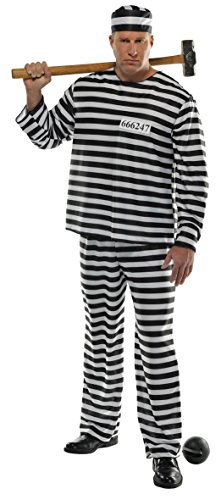 AMSCAN Jail Bird Convict Prisoner Halloween Costume for Men, Standard, with Included Accessories - http://coolthings.us