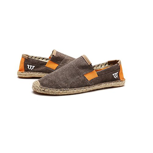 Para UK6 CN39 Zapatos Alpargatas Color Ocasionales Elásticos A 3 Hombres Entrenador Tamaño Fit Lino De Lona Mano Suela Cosidos XUEQIN 2 EU39 Hombres 6RfqfF
