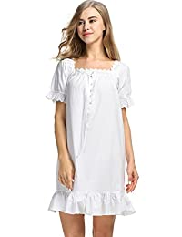 Goldenfox Womens Short Sleeve Sleepshirts Martha Victorian Nightgowns S-XL