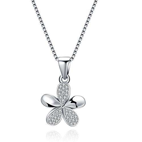 ATDMEI Hawaiian Plumeria Flower Pendant Necklace Sterling Silver for Women Girls Zircon Jewelry Gifts ()