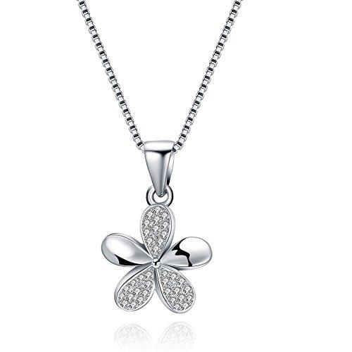 (ATDMEI Hawaiian Plumeria Flower Pendant Necklace Sterling Silver for Women Girls Zircon Jewelry)