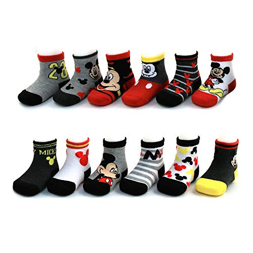 Disney Baby Boys Mickey Mouse Assorted Color Design 12 Pair Socks Set, Age 0-24 Months (6-12 Months, Black-Grey-Red Collection) - Mickey Black Socks